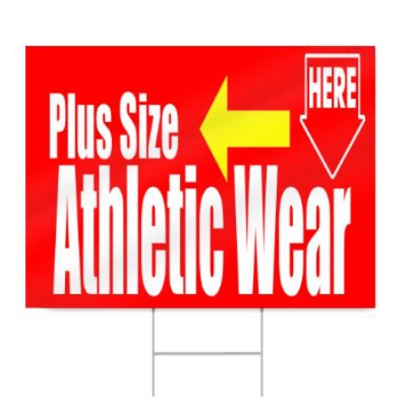 Plus Size Athletic Wear Sign
