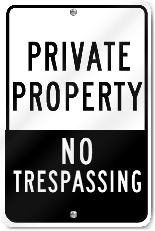Private Property No Trespassing Two Shades Sign