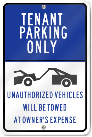 Tenant Parking Only Graphic Metal Sign
