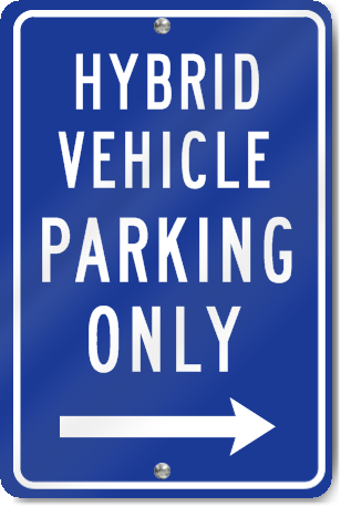 Hybrid Vehicle Right Arrow Metal Sign