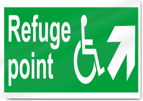 Disabled Refuge Point Up Right Safety Signs