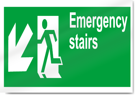 emergency stairs down left safety signs signstoyoucom