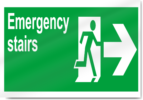 Emergency Stairs Right Safety Signs