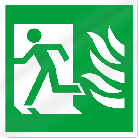 Fire Exit Symbol With Flames Left Safety Signs Signstoyou