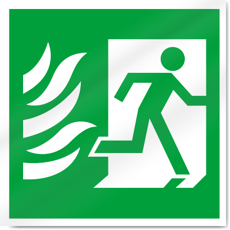 Fire Exit Symbol With Flames Right Safety Signs Signstoyou