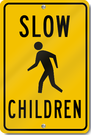 Slow Children With Child Symbol Sign