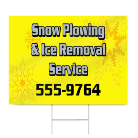 Snow Plowing and Ice Removal Service Sign