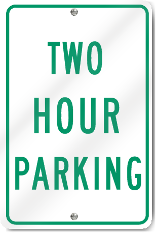 Two Hour Parking Sign