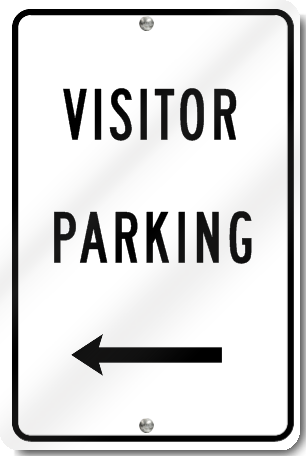 Visitor Parking Sign With Left Arrow
