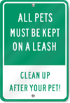 All Pets On Leash Metal Sign