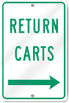 Return Carts (Right Arrow) Sign