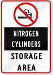 No Smoking Nitrogen Cylinders Storage Area Sign