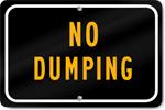 Horizontal No Dumping Parking Sign