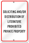 Soliciting And/Or Distribution Aluminum Sign