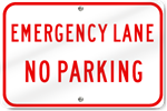 Horizontal Emergency Lane No Parking Sign