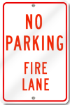 No Parking Fire Lane Sign in Red