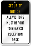 Security Notice Reception Desk Sign