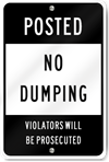 Posted No Dumping Sign