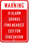 Warning If Alarm Sounds Find Nearest Exit For Evacuation Sign
