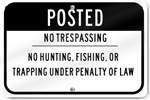 Horizontal Posted No Trespassing Sign