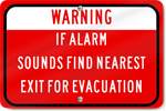 Horizontal Warning Alarm Sounds Exit For Evacuation Sign