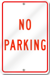 No Parking Sign in Red