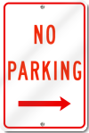 No Parking Right Arrow Sign