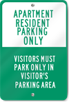 Apartment Resident Parking Aluminum Sign