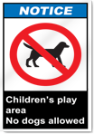 Children'S Play Area No Dogs Allowed Notice Signs