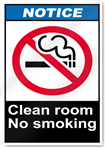 Clean Room No Smoking Notice Signs
