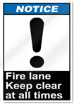 Fire Lane Keep Clear At All Times Notice Signs