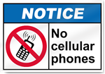 No Cellular Phones Notice Signs