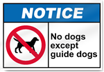 No Dogs Except Guide Dogs Notice Signs