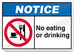 No Eating Or Drinking Notice Signs