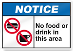 No Food Or Drink In This Area Notice Signs