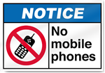 No Mobile Phones Notice Signs