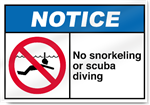 No Snorkeling Or Scuba Diving Notice Signs