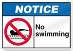 No Swimming Notice Signs