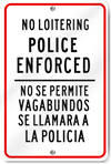 No Loitering Bilingual Sign