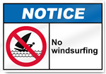 No Windsurfing Notice Signs