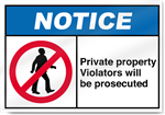 Private Property Violators Will Be Prosecuted Notice Signs
