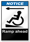 Ramp Ahead Left Notice Signs