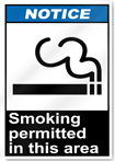 Smoking Permitted In This Area Notice Signs