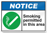 Smoking Permitted In This Area2 Notice Signs