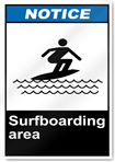 Surfboarding Area Notice Signs