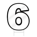 Number Six Shaped Sign
