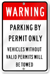 Warning Parking By Permit Only Sign