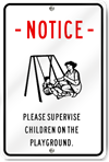 Supervise Children Playground Sign