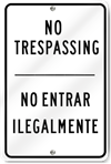 No Trespassing Spanish/English Sign