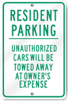 Resident Parking Metal Sign